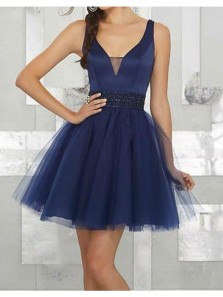 Charming A Line V Neck Backless Tulle and Satin Navy Blue Short Dress /Homecoming Dress Under 100