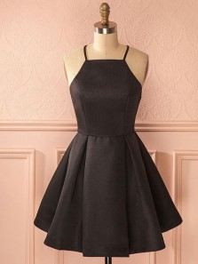Cute A Line Halter Satin Black Short Dress, Little Black Dress, Short Homecoming Dress Under 100