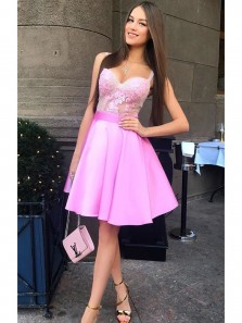 Charming A Line Sweetheart Spaghetti Straps Fuchsia Short Homecoming Dress with Applique