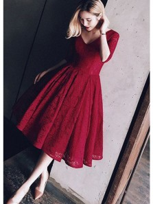 Charming A Line V Neck Half Sleeve Lace Dark Red Formal Homecoming Dress, Elegant Evening Dress, Tea Length Dress