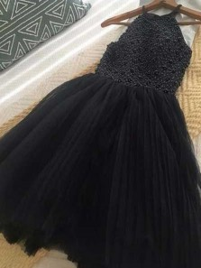 Cute A Line Halter Tulle Navy and Black Beading Homecoming Dress, Short Dress