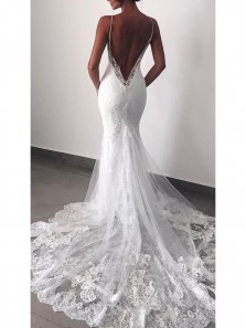 Gorgeous Mermaid Sweetheart Backless Spaghetti Straps Tulle and Lace White Wedding Dress with Applique