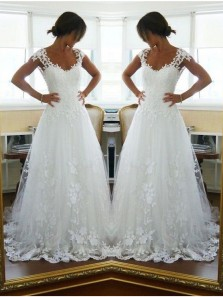 Gorgeous A Line V Neck Open Back White Tulle Wedding Dress with Applique