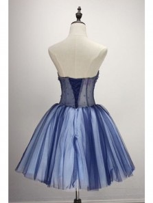 Charming A Line Sweetheart Backless Navy and White Tulle Short Homecoming Dress, Cute Short Dress with Applique, Short Prom Dress