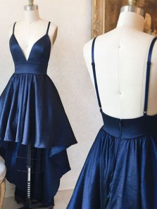 Cute A Line V Neck Backless Spaghetti Straps Satin High Low Navy Homecoming Dresss, Elegant Prom Dress
