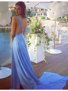 Charming A Line V Neck Backless Slit Blue Prom Dress, Long Evening Dress with Court Train