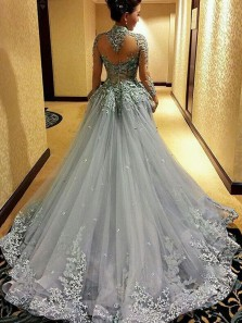 Gorgeous Ball Gown Halter Open Back Tulle Long Sleeve Grey Wedding Dress with Applique