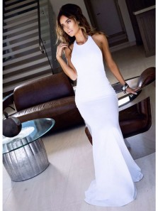 Charming Mermaid Halter Backless Elastic Satin White Long Prom Dress, Elegant Formal Evening Dress
