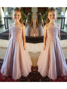 Cute A Line Sweetheart Spaghetti Straps Chiffon Flower Girl Dress with Applique