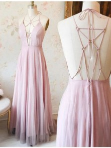 Elegant A Line V Neck Cross Straps Back Pink Tulle & Chiffon Long Prom Dress, Formal Evening Dress Under 100