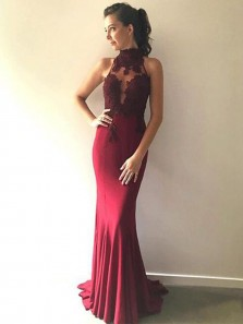 Charming Mermaid Halter Open Back Burgundy Long Prom Dress with Applique, Elegant Formal Evening Dress