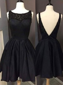 Cute A Line Scoop Open Back Satin Black Short Homecoming Dresses with Beading, Little Black Dresses, Short Prom Dresses