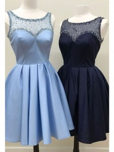 Cute A Line Scoop Open Back Satin Short Homecoming Dresses with Beading, Short Prom Dresses