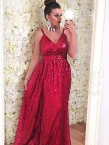Elegant A Line V Neck Red Sequins Long Bridesmaid Dress