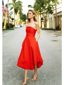Charming A Line Sweetheart Red Tea Length Homecoming Dresses with Pocket, Formal Short Red Dresses HD0716006