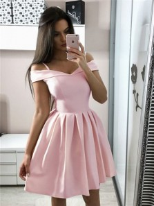 Cute A Line Off the Shoulder Pink Elastic Satin Short Homecoming Dresses with Pocket, Short Prom Dresses Under 100