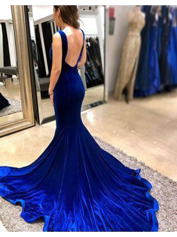 c460f544d4f Gorgeous Mermaid V Neck Open Back Velvet Royal Blue Long Prom Dresses with  Train