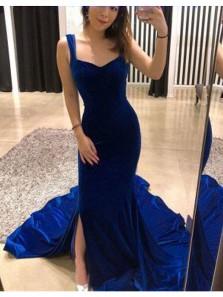 Gorgeous Mermaid V Neck Open Back Velvet Royal Blue Long Prom Dresses with Train, Elegant Evening Dresses