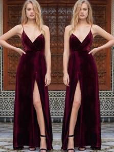 Charming Sheath V Neck Spaghetti Straps Velvet Slit Wine Long Prom Dresses, Elegant Formal Evening Dresses