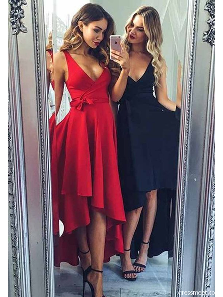 3d0e2781056e Cute A Line V Neck Red /Navy High Low Homecoming Dresses with Pocket, Simple  Short Prom Dresses Under 100