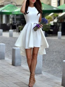 Cute A Line Round Neck Elastic Satin High Low Homecoming Dresses with Pocket, Short Prom Dresses Under 100
