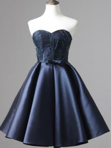 Cute A Line Sweetheart Open Back Navy Blue Satin Short Homecoming Dresses with Beading Under 100, Graduation Dresses