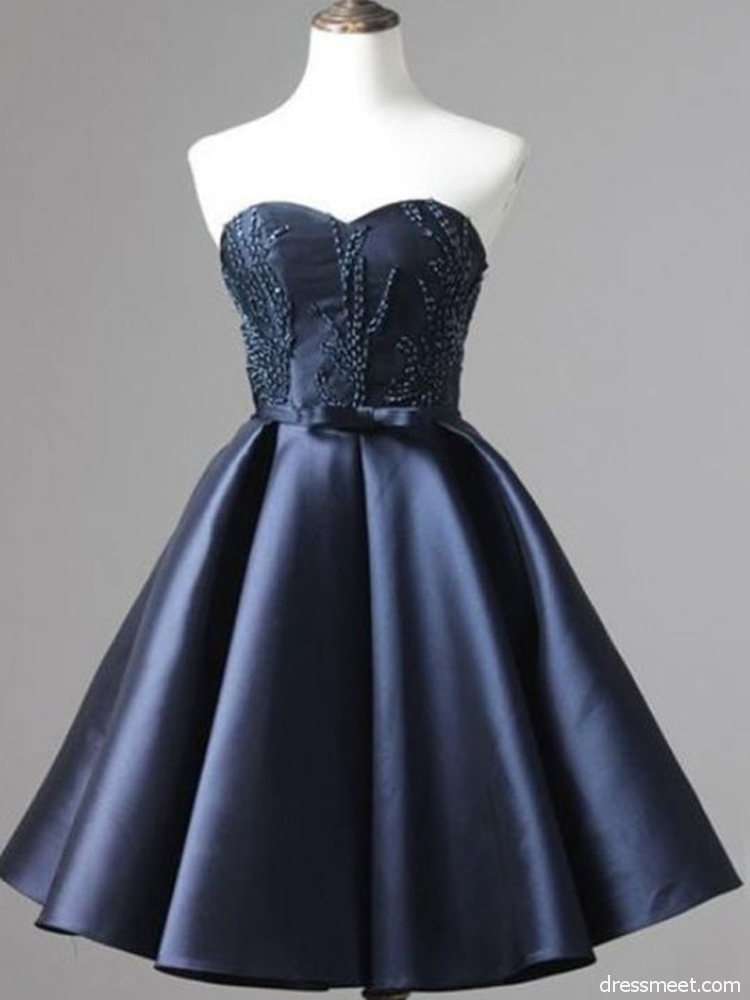 c5def8f0af2 Cute A Line Sweetheart Open Back Navy Blue Satin Short Homecoming Dresses  with Beading Under 100