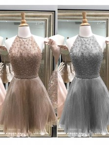 2018 Unique A Line Halter Open Back Tulle Short Homecoming Dresses with Beading, Graduation Dresses
