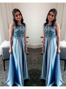 Elegant A Line Halter Open Back Blue Long Prom Dresses with Beading, Formal Evening Dresses
