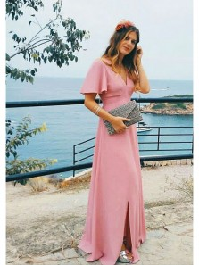 Elegant Sheath Slit V Neck Half Sleeve Open Back Brush Pink Long Prom Dresses, Formal Evening Dresses Under 100