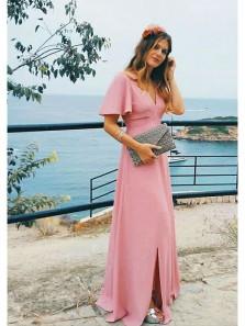 Elegant Sheath Slit V Neck Half Sleeve Open Back Brush Pink Long Prom Dresses, Formal Evening Dresses Under 100