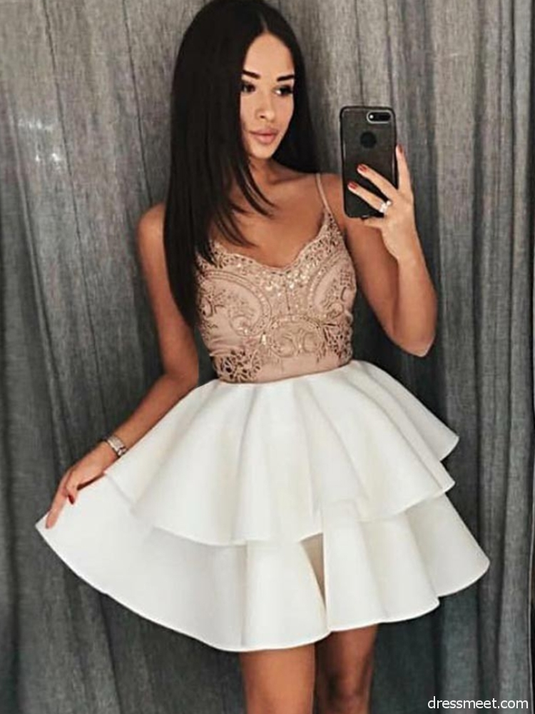 baadf28d931 Cute A Line V Neck Spaghetti Straps Backless White Short Homecoming Dresses  with Lace