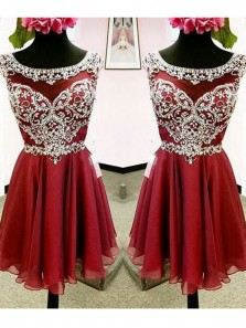 Cute A Line Scoop Open Back Wine Chiffon Homecoming Dresses with Beading