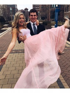 Elegant A Line Sweetheart Backless Pink Tulle Long Prom Dresses, Long Homecoming Dresses