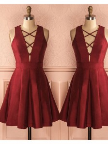 Cute A Line V Neck Wine Elastic Satin Short Homecoming Dresses, Short Prom Dresses Under 100