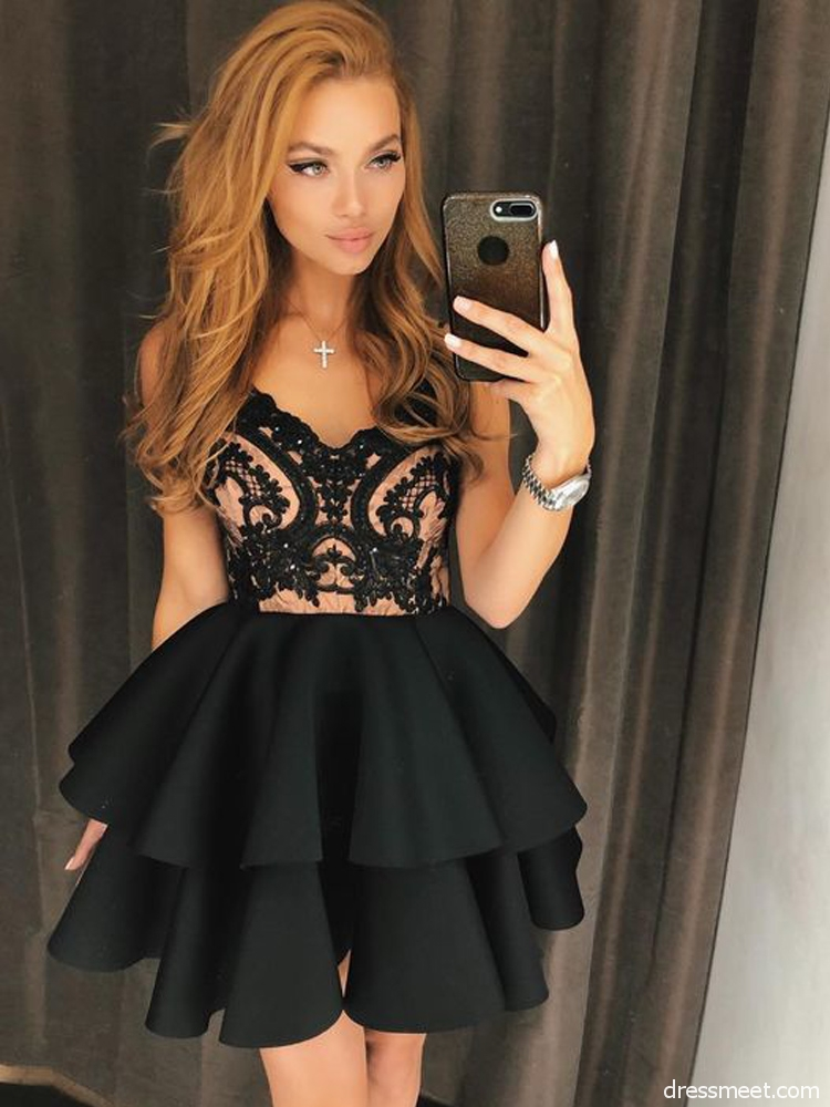 463a19fad4f Cute A Line V Neck Backless Satin Black Lace Short Homecoming Dresses