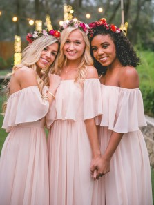2018 Charming Sheath Off the Shoulder Pink Chiffon Bridesmaid Dresses Under 100