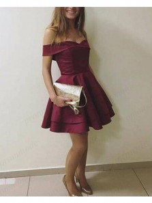 Cute A Line Off the Shoulder Burgundy Satin Short Homecoming Dresses with Pocket, Short Prom Dresses Under 100