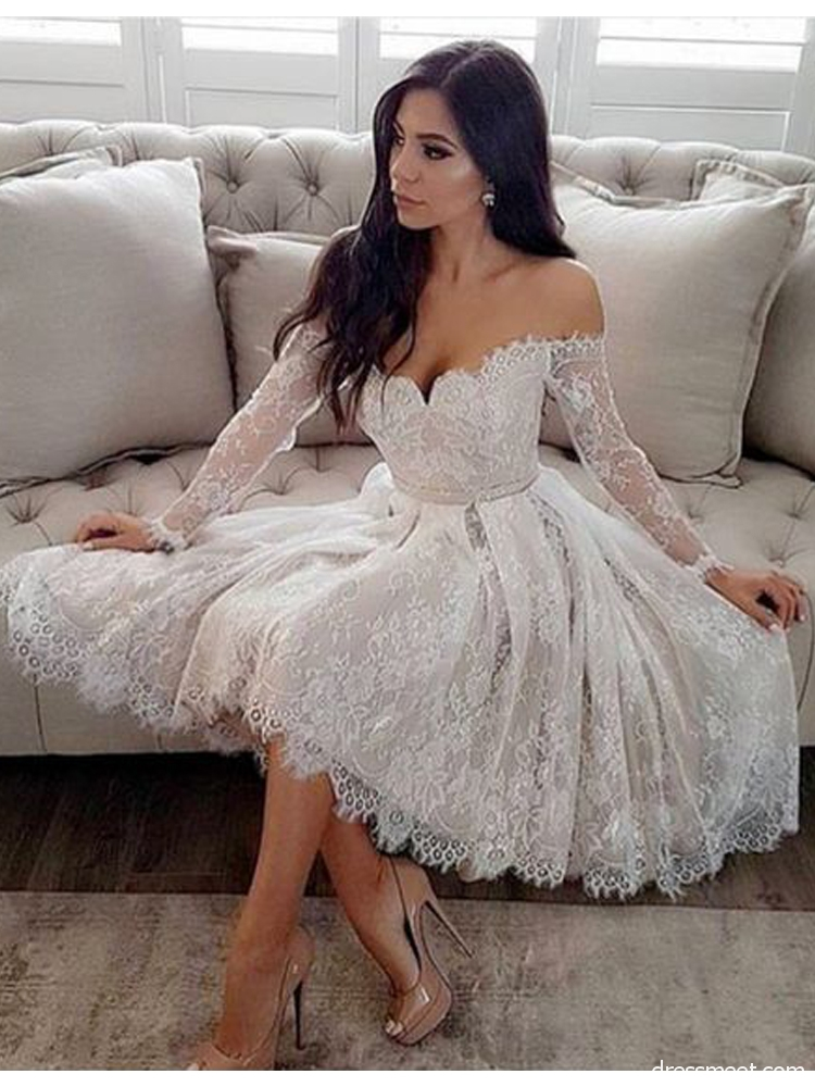 e20507678ba Elegant A Line Sweetheart Lace Long Sleeve White Short Homecoming Dresses