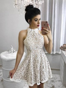 Cute A Line Halter White Lace Short Homecoming Dresses, Short Formal Prom Dresses