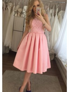 Cute A Line Scoop Open Back Lace Pink Short Homecoming Dresses, Formal Short Prom Dresses