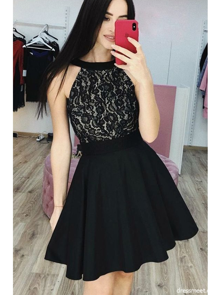 e5dbe658c0 Cute A Line Round Neck Lace Black Short Homecoming Dresses