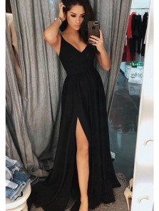 Elegant A Line Slit V Neck Open Back Black Chiffon Long Prom Dresses, Formal Evening Dresses Under 100