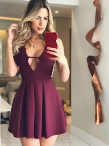 Charming A Line V Neck Backless Burgundy Elastic Satin Short Homecoming Dresses with Pocket, Sexy Short Prom Dresses Under 100