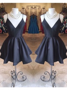 Cute A Line V Neck Spaghetti Straps Black Satin Short Homecoming Dresses with Pockets, Little Black Dresses, Junior Homecoming Dresses Under 100