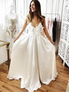 Gorgeous A Line V Neck Backless Spaghetti Straps Ivory Satin Wedding Dresses with Applique