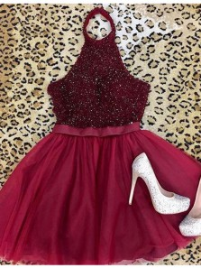 856399576c Cute A Line Halter Backless Dark Red Tulle Short Homecoming Dresses with  Beading