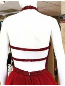 Cute A Line Halter Backless Dark Red Tulle Short Homecoming Dresses with Beading, Short Prom Dresses