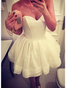 Cute A Line Sweetheart Elastic Satin White Short Homecoming Dresses Under 100, Formal Short Prom Dresses with Pockets