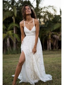 Unique A Line V Neck Spaghetti Straps White Lace Wedding Dresses with Cross Back, Beach Wedding Dresses